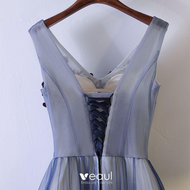 Chic / Beautiful Formal Dresses 2017 Navy Blue Lace Flower A-Line / Princess Floor-Length / Long V-Neck Sleeveless Prom Dresses