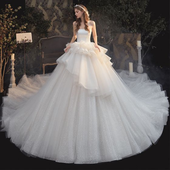 Luxury / Gorgeous Champagne Bridal Wedding Dresses 2020 Ball Gown Strapless Sleeveless Backless Glitter Tulle Cathedral Train Ruffle