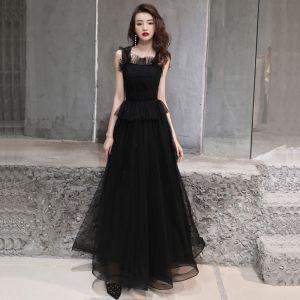 Modest / Simple Black Evening Dresses  2019 A-Line / Princess Shoulders Sleeveless Beading Floor-Length / Long Ruffle Backless Formal Dresses
