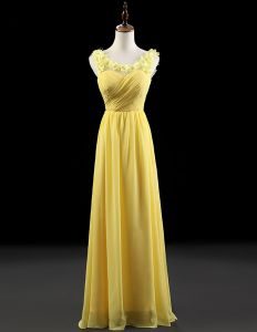 2015 Princess Shoulders Embroidered Flowers Scoop Neck Ruffle Chiffon Daffodil Evening Dresses