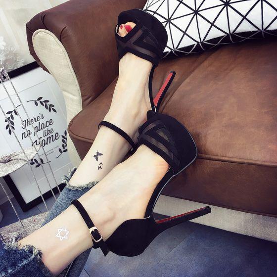 Chic / Belle 2017 8 cm / 3 inch Noire Blanche Désinvolte Cocktail PU Été X-Strap Talons Hauts Talons Aiguilles Escarpins Peep Toes / Bout Ouvert Escarpins