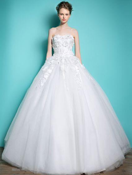 Bellos Vestidos De Novia 2016 Bola Vestido Sin Tirantes De Encaje Apliques De Flores Y Abalorios Diamantes De Imitación Sin Espalda Vestido De Novia