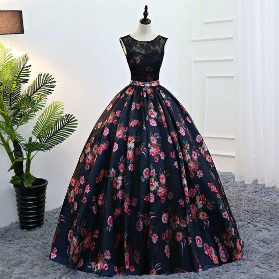 Vintage Marino Oscuro Quinceañera Vestidos de gala 2018 Ball Gown Impresión Scoop Escote Sin Espalda Sin Mangas Largos Vestidos Formales