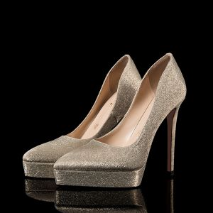 Charming Gold Glitter Evening Party Pumps 2020 12 cm Stiletto Heels Pointed Toe Pumps