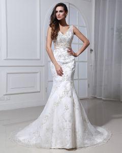 Spitze Mit Perlen Applique Mit V-ausschnitt Gericht Mermaid Brautkleid Hochzeitskleider