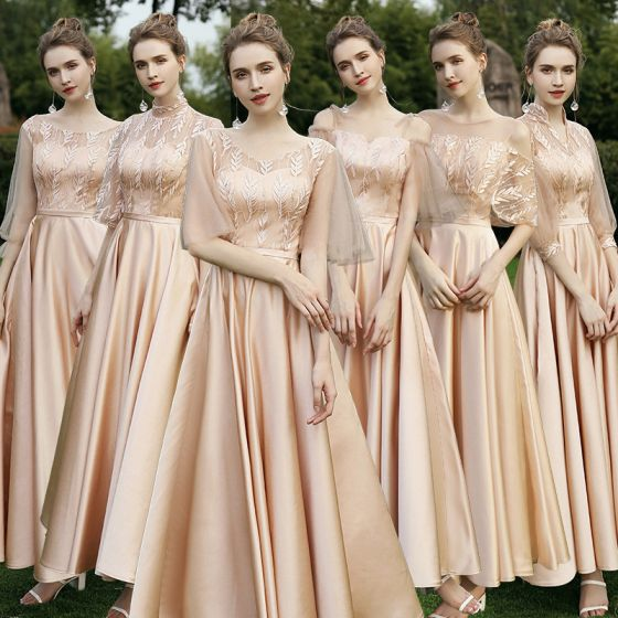 Modest / Simple Champagne Satin Embroidered Bridesmaid Dresses 2021 A-Line / Princess Scoop Neck 1/2 Sleeves Backless Floor-Length / Long Wedding Party Dresses