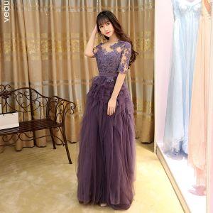 Modern / Fashion Grape Evening Dresses  2017 A-Line / Princess Pleated Floor-Length / Long Scoop Neck 1/2 Sleeves Lace Appliques Sash Pierced Formal Dresses