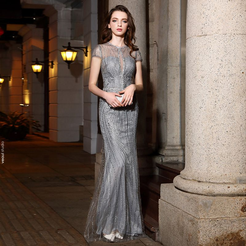 Classy Silver Evening Dresses  2019 Trumpet / Mermaid Scoop Neck Handmade  Beading Rhinestone Lace Short Sleeve Floor-Length / Long Formal Dresses
