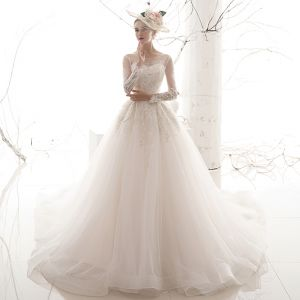 Chic / Beautiful Ivory See-through Wedding Dresses 2019 A-Line / Princess Square Neckline Long Sleeve Backless Glitter Appliques Lace Chapel Train Ruffle