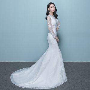 Schöne Brautkleider 2017 Weiß Mermaid Kathedrale Schleppe Rundhalsausschnitt Lange Ärmel Rückenfreies Mit Spitze Applikationen Kristall Perlenstickerei