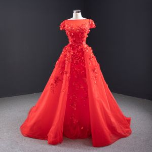 High-end Red Pearl Appliques Wedding Dresses 2020 A-Line / Princess Square Neckline Short Sleeve Backless Watteau Train