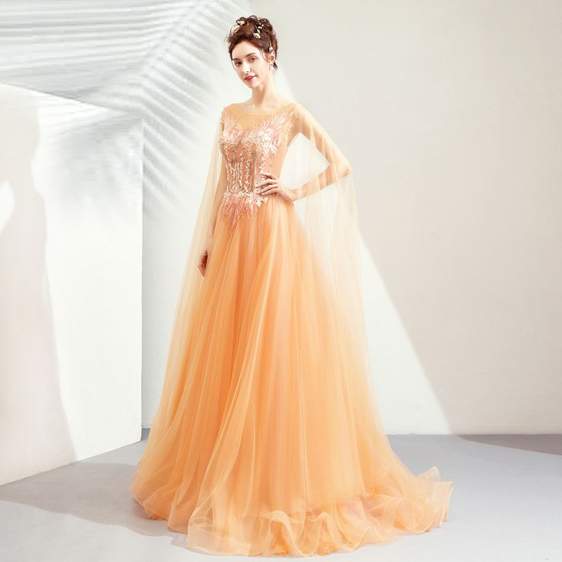 Chic / Beautiful Orange Evening Dresses  2019 A-Line / Princess Scoop Neck Long Sleeve Appliques Lace Pearl Sweep Train Ruffle Backless Formal Dresses