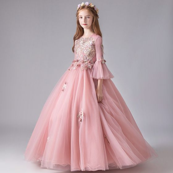 Chic / Beautiful Pearl Pink Birthday Flower Girl Dresses 2020 Ball Gown Scoop Neck 3/4 Sleeve Bell sleeves Appliques Flower Beading Pearl Floor-Length / Long Ruffle