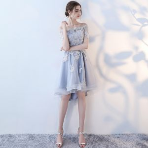 Elegant Sky Blue Graduation Dresses 2017 Strapless Lace Appliques Backless Printing Homecoming Party Dresses