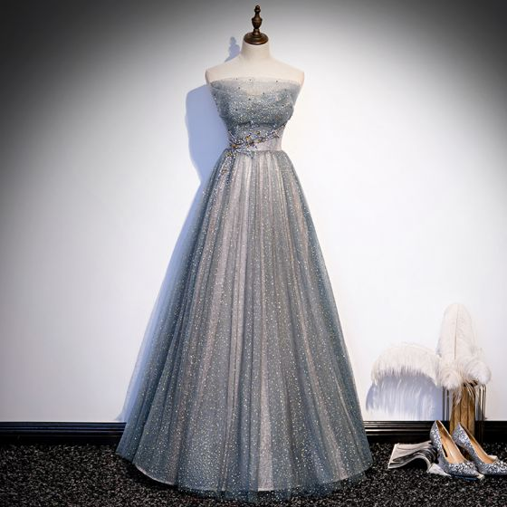 Charming Grey Dancing Prom Dresses 2020 A-Line / Princess Strapless Sleeveless Sequins Beading Glitter Tulle Floor-Length / Long Ruffle Backless Formal Dresses