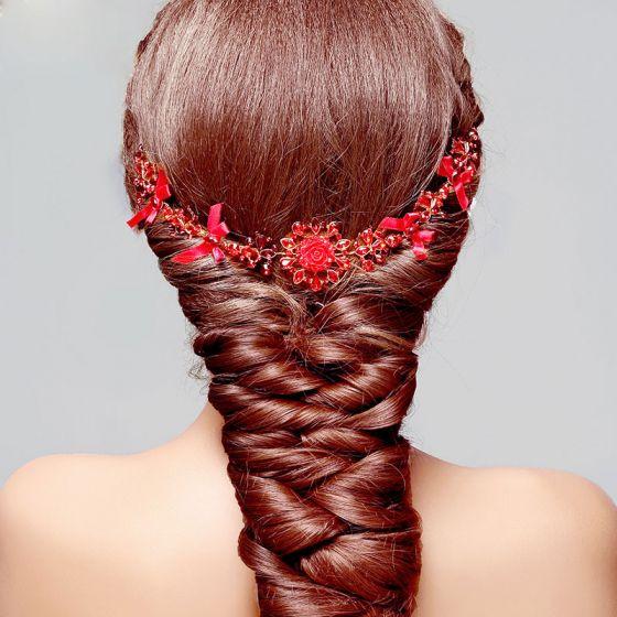 Red Bridal Headpieces / Head Flower / Wedding Hair Accessories / Wedding Jewelry / Bow Garland