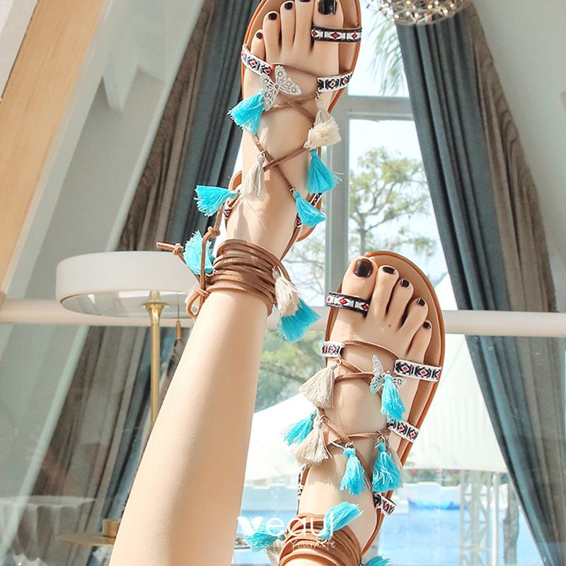 Modern / Fashion Bohemia Brown Womens Sandals Beach Leather Summer Beading Strappy Tassel Flat Sandals Womens Shoes 2019