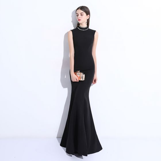 Modest Simple Black Evening Dresses 2018 Trumpet Mermaid Beading Scoop Neck Floor Length Long Formal Dresses