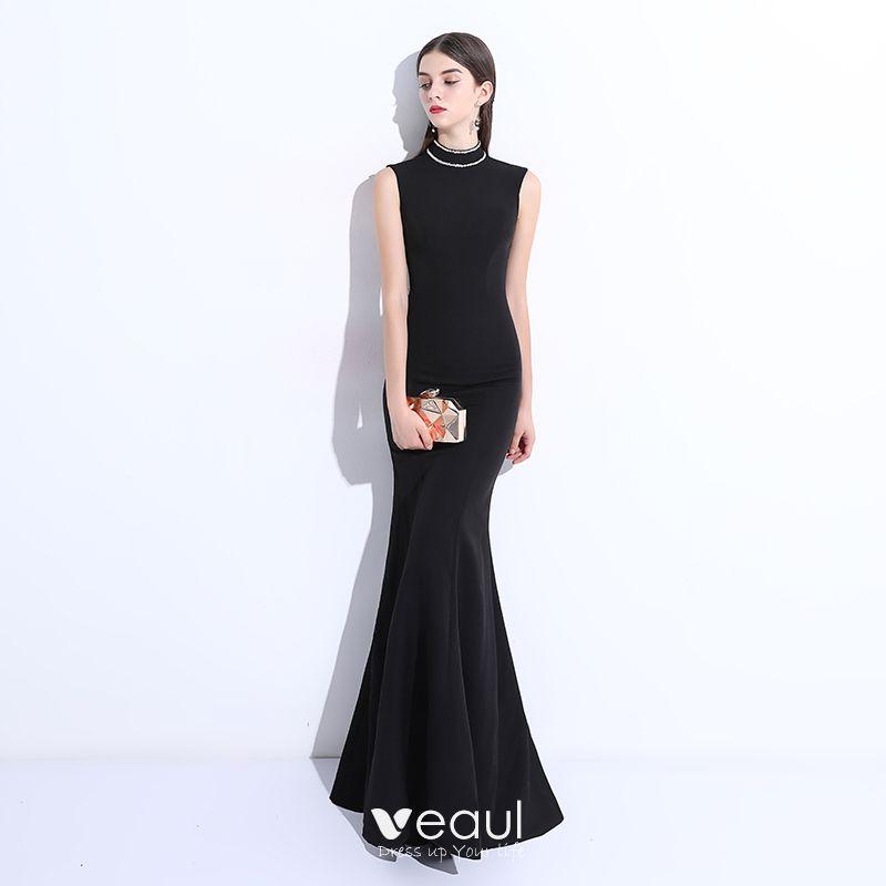 9c2cf3e5a0d9f Modest / Simple Black Evening Dresses 2018 Trumpet / Mermaid Beading ...