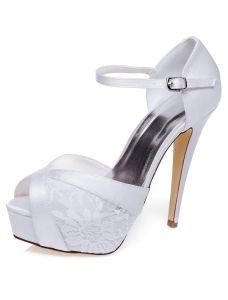 Belles Sandales De Mariée Avec Bride Cheville Talons Aiguilles Dentelle Chaussures Mariage Hauts Talons Avec Plateforme