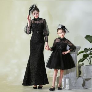Vintage / Retro Black See-through Evening Dresses  2019 High Neck Puffy 3/4 Sleeve Spotted Tulle Ruffle Formal Dresses