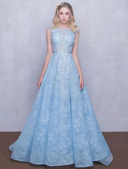 Abendkleid blau tull