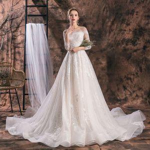 Elegant Ivory Wedding Dresses 2019 A-Line / Princess Scoop Neck Sequins Lace Flower Tassel 3/4 Sleeve Backless Cathedral Train
