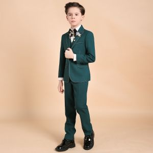 Luxe Vert Foncé Boys Wedding Suits Perlage Cravate Bijoux De Corps 2018