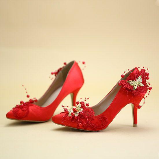 Abordable Rouge Chaussure De Mariée 2019 Perlage Perle Papillon En Dentelle Fleur 8 cm Talons Aiguilles À Bout Pointu Mariage Escarpins