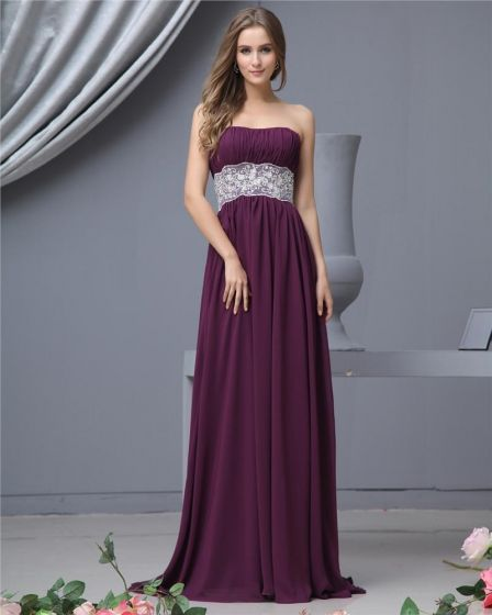 Sash Sweetheart Chiffon Floor Length Bridesmaid Dress Gown