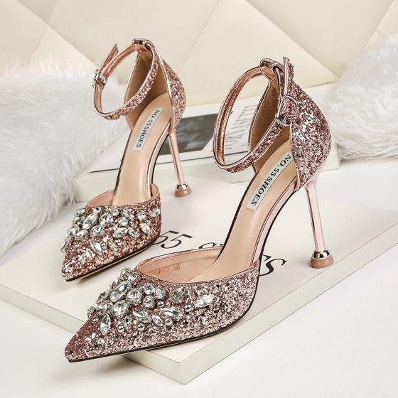 Scintillantes Or Rose Soirée Chaussures Femmes 2019 Paillettes Bride Cheville Faux Diamant 9 cm Talons Aiguilles À Bout Pointu Talons Hauts