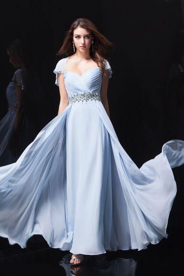 2015 Charming A-line Beading Sash Blue Evening Dress