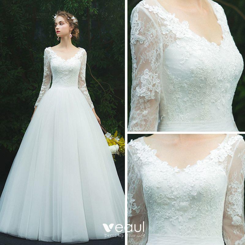 Modest / Simple Ivory Pierced Wedding Dresses 2019 A-Line
