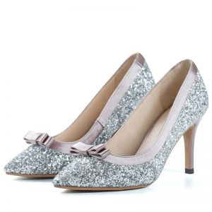 Sparkly Silver Wedding Shoes 2018 Glitter Sequins Bow Leather 8 cm Stiletto Heels Pointed Toe Wedding Pumps
