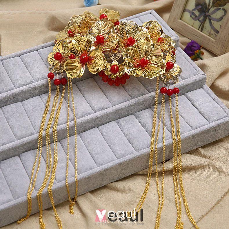 Chinesischen Stil Brautkopfschmuck Goldenen Hochzeit Haarschmuck Hochzeit Schmuck