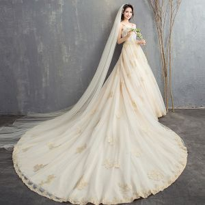 Luxury / Gorgeous Champagne Cathedral Train Wedding 2018 A-Line / Princess Tulle Beading Sequins Appliques Wedding Dresses