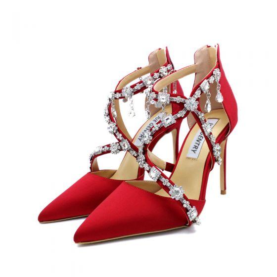 Sexy Rot Abend Strass Seide Satin Sandalen Damen 2021 X-Riemen 8 cm Stilettos Spitzschuh Sandaletten Hochhackige
