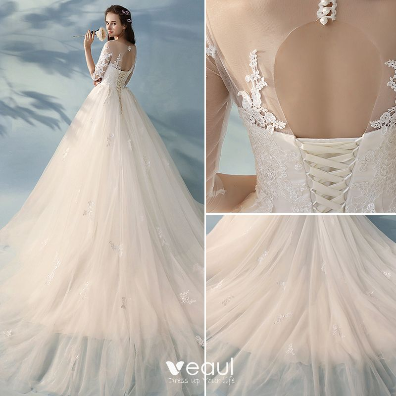 Elegant A-Line / Princess Ivory Wedding Dresses 2017 1/2 Sleeves Appliques Lace Ruffle Tulle Backless Chapel Train
