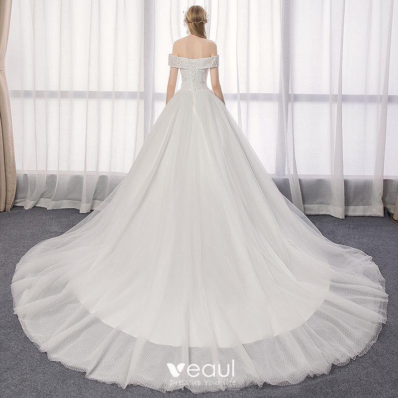 Elegant Ivory Wedding Dresses 2019 A-Line / Princess Off-The-Shoulder Lace Backless Short Sleeve Flower Cathedral Train