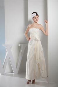 2015 Charming Strapless Beading Ankle Length Formal Dress Wedding Dress