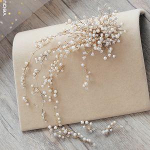 Luksus Aprikos Hodepynt 2019 Metall Perle Rhinestone Bryllup Tilbehør