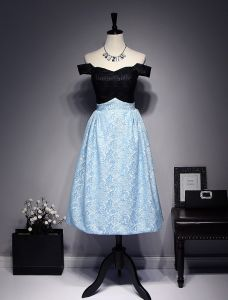Beautiful Evening Dresses 2017 Off The Shoulder Black And Sky Blue Lace Dress