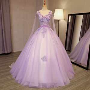 Elegant Lavender Prom Dresses 2018 Ball Gown Appliques Lace Flower Beading Pearl Sequins Scoop Neck Backless Sleeveless Watteau Train Formal Dresses