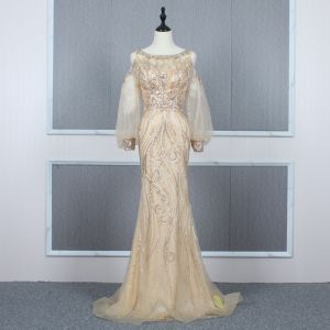 High-end Gold See-through Evening Dresses  2020 Trumpet / Mermaid Scoop Neck Puffy Long Sleeve Beading Sweep Train Ruffle Formal Dresses