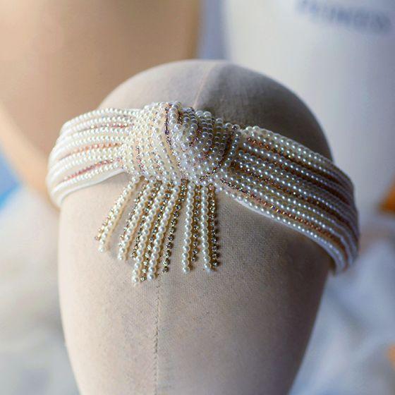 Vintage Białe Obręcz do włosów Ozdoby Do Włosów Ślubne 2020 Perła Rhinestone Ozdoby Do Włosów Ślub Akcesoria