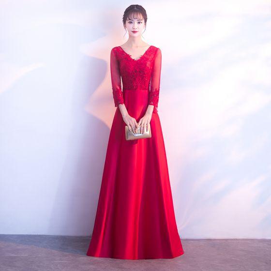 Chic / Belle Bordeaux Robe De Soirée 2017 Princesse En Dentelle Fleur Perle V-Cou Longue Robe De Ceremonie