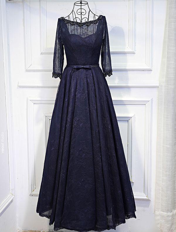 Elegant Evening Dresses 2017 Beading Scoop Neck  Ruffle Navy Blue Lace Backless Dress