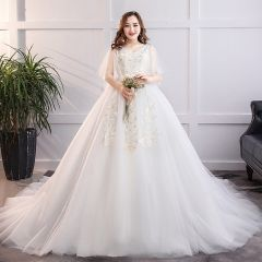 Chic / Beautiful White Plus Size Wedding Dresses 2019 A-Line / Princess Tulle Lace V-Neck Appliques Backless Chapel Train Wedding