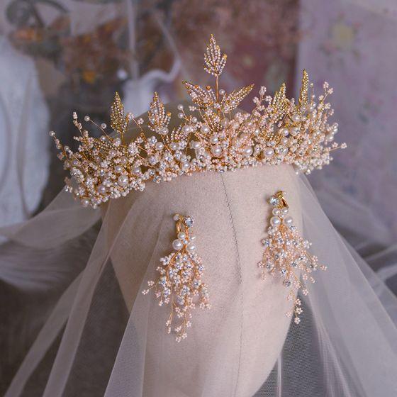 Chic / Beautiful Gold Bridal Hair Accessories 2019 Metal Handmade  Beading Pearl Rhinestone Tiara Wedding Accessories
