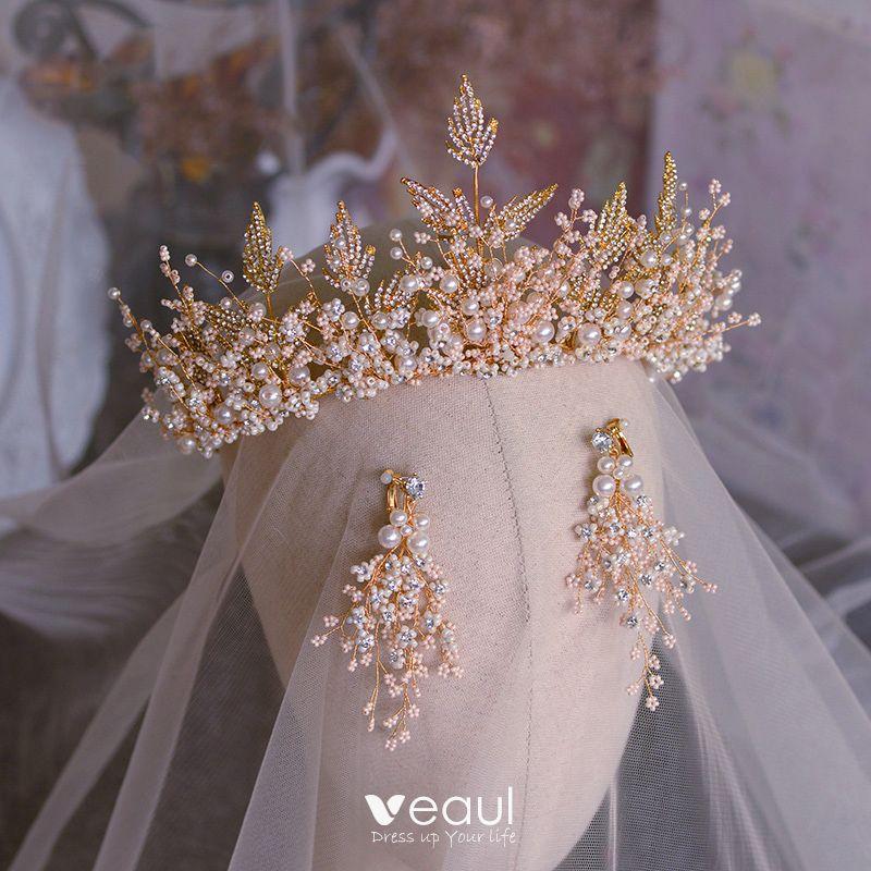 Luxury Gold Rhinestones Wedding Party Bridal Crown Tiara Bride Hair Accessories